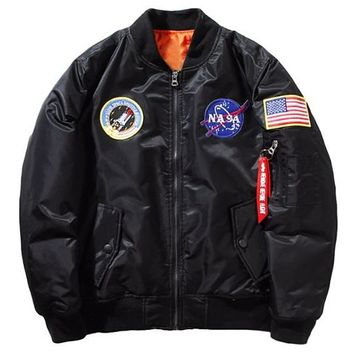 [15559] Men Nasa Patches Embroidered Bomber Jacket