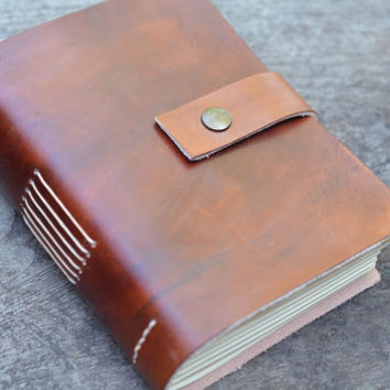 Old Classic Leather Journal / Pocket Book  /  Free Initials / Lined