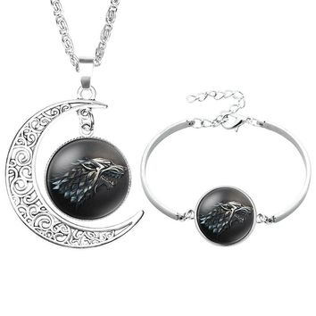 NingXiang Game Of Thrones Moon Pendant Necklace Bracelet Jewelry Set House Stark Wolf Head Picture Glass Necklace Jewelry Men