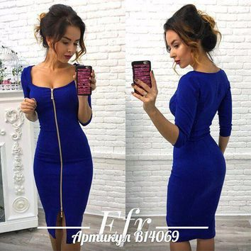 Newstar 3/4 Long Sleeve Dress for Women Sexy Front Zipper Bodycon Club Party Dress for Cocktail