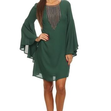 Chiffon Boho Dress with Bell Sleeves