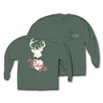 "*Closeout* Southern Raised ""Holiday Deer"" Tee on Comfort Colors Long Sleeve"