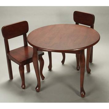Gift Mark 3000C Round Queen Anne Table and Two Chair Set - Cherry