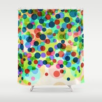Happy Rainbow Confetti Shower Curtain by Miss L In Art