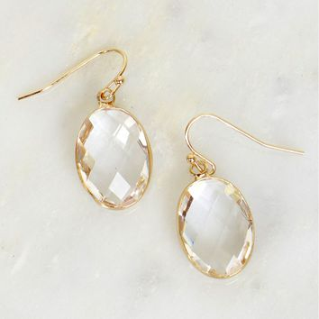 Rain Drop Stone Earrings White/Clear