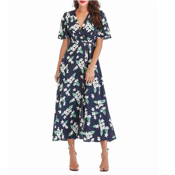 SUNNOW 2018 Women's Summer V Neck Floral Print Button Down Boho Midi Beach Dress