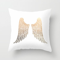 GOLD WINGS Throw Pillow by Monika Strigel