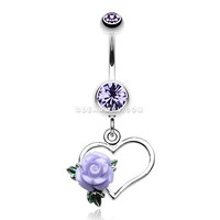 Glittering Sweet Heart with Rose Belly Button ring (Tanzanite)