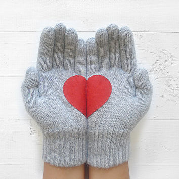 Christmas Gift, Heart Gloves, Gray Gloves, Grey Gloves, Red Heart, Special Gift, Xmas Gift, Holiday Gift, Gift For Her, Love, Unique Gift