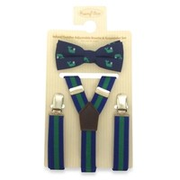 Rising Star Striped Suspender and Whale Print Bowtie Set