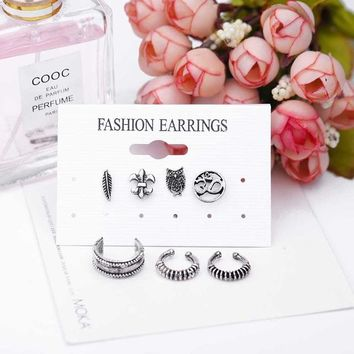 7pcs Bohemian Retro Earrings Set Owl Anchor Small Leaf Hand Hollow Hollock Set Jewelry Accessories