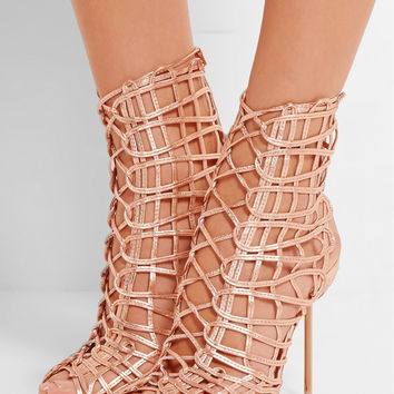 Sophia Webster | Delphine metallic leather sandals | NET-A-PORTER.COM