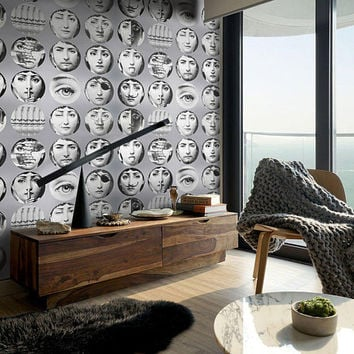 Vintage Wallpaper, Wallpaper, Fornasetti Plates, Fornasetti Wallpaper, Cole and Son wallpaper, Piero Fornasetti, Fornasetti wall