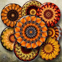 Orange Kaleidoscope - 2.625 in (or smaller) circles - Digital Collage Sheets CG-585 for Pocket Mirrors, Bottle Caps, Buttons, Pendants