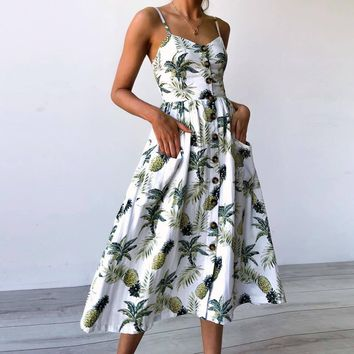 Boho Floral Print Summer Dress Women V Neck Pockets Sleeveless Midi Dresses Female Sunflower Pleated Backless Button Sexy Dress