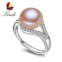 100% real freshwater pearl ring for women 925 sterling silver adjustable ring AAA zircon 9-10mm AAAA natural pearl jewelry R001