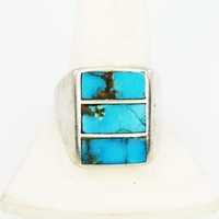 Cigar Band Sterling Silver & Turquoise Ring, Tested 925, Size 10 1/2, Navajo Native American Indian Jewelry, Vintage 1950s 1960s Gemstone
