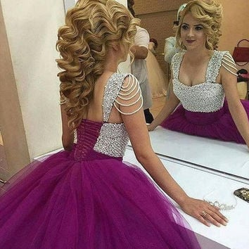 2017 latest style ball gown prom dress purple pearls princess sweetheart prom dresses pleated long puffy prom gowns custom made