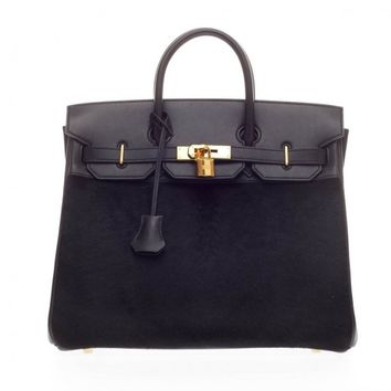 Hermes Birkin Troika HAC Black Evercalf and Pony Hair with Gold Hardware 32
