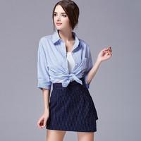 Light-Blue Sleeve Tie-Waisted Button Collared Shirt