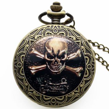 Punk SKull Pendant Watch Biker Skull Accessory Pocket Watch High Quality Gothic Quartz Watches Gift