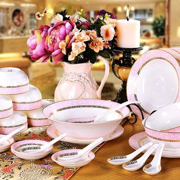 tableware Bowl set ceramics quality bone china tableware bowl plate dish wedding gift