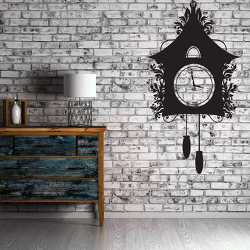 Vinyl Decal Vintage Cuckoo Clock Dreamlike House Chains Kettlebell Wall Stikers Unique Gift (n497)