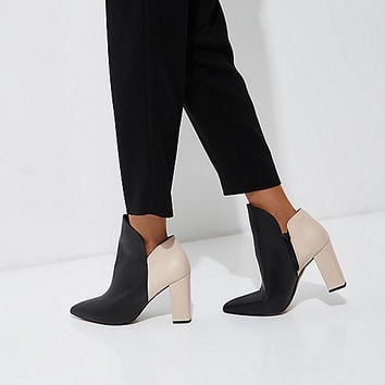 Beige and black block heel boots - Boots - Shoes & Boots - women