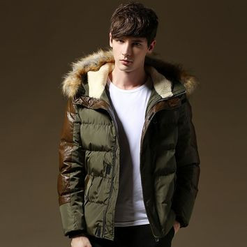 New Thick Warm Winter Jacket Men Fur Hood Patchwork Leather Plus Size 3XL 4XL 5XL Brand Winter Coat Men Cotton Down Jackets