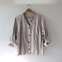 STOREWIDE SALE...vintage linen jacket. natural oversized linen shirt with pockets