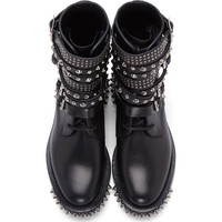 Black Leather Studded Rangers Boot