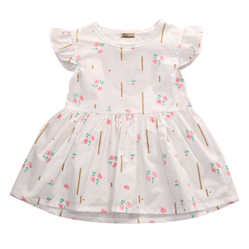 Heart Party Floral Cotton Sleeveless Dress for Toddler Girls