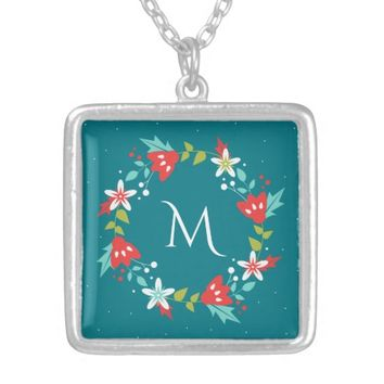 Floral Wreath Monogram Silver Plated Necklace