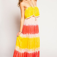 Tiare Hawaii Frill Long Lace Dress Red/Yellow/Pink