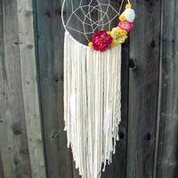 Large Boho Gypsy Dreamcatcher, Neutral Dreamcatcher with Flowers and Feathers, Wedding Decor Shabby Chic Nursery Decor, Floral Wall Hanging