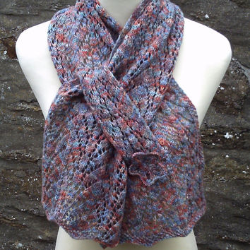 Hand knitted lacy self patterning scarf with pocket. Adult women or teenage girl. Hand dyed wool.