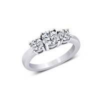 Round diamonds 1.01 carat engagement ring solid gold jewelry 3 stone