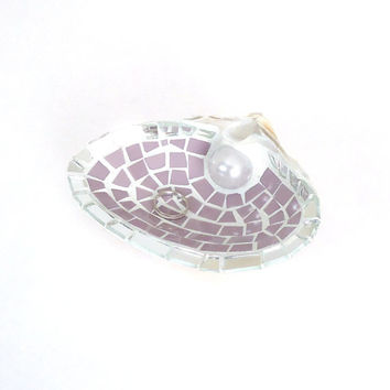 Sea Shell Ring Holder Dish in Lavender and Mirror Mosaic Tile