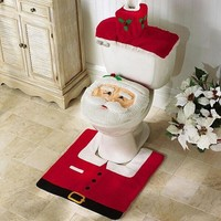 3pcs/lot bathroom Santa claus Toilet Cover rug set new year christmas decoration enfeites de natal navidad christmas gift