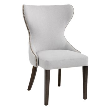 ANDREA LIGHT GREY FABRIC WITH DISTRESSED WOOD LEGS DINING CHAIR
