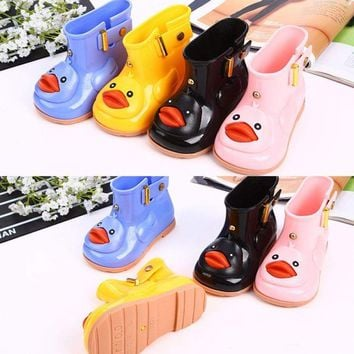 Baby Toddler Girls Cute Rain Boots Shoes With Bow Soft Rubber Shoes Kids Jelly