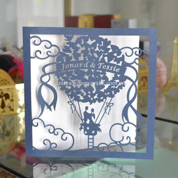 50x Personalised fancy paper for invitations, Turkey style hot air balloon wedding invitations cheap