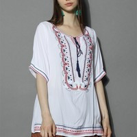 Cheerful Embroidery Boho Tunic