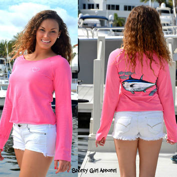 Bluefin tuna fishing clothing womens pink tuna shirt with sporty girl apparel artwork on it