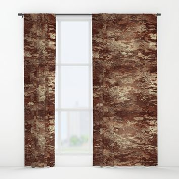 Brown wood bark texture Window Curtains by Natalia Bykova