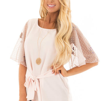 Blush Blouse with Sheer Polka Dot Sleeves