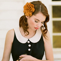 golden dahlia indie hair clip by Petit Plume - $19.99 : ShopRuche.com, Vintage Inspired Clothing, Affordable Clothes, Eco friendly Fashion