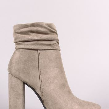 Qupid Vegan Suede Ruched Pointy-Toe Chunky Heel Ankle Boot