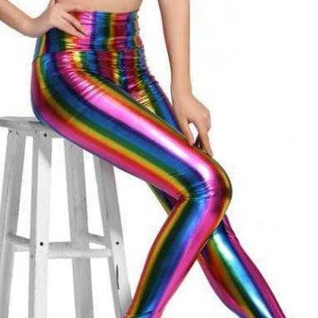So 70's Disco Metallic Rainbow Leggings