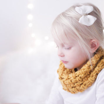 Chunky Kids Cowl Scarf, Yellow Mustard for BABY& TODDLER, Cozy Cowl for Toddler